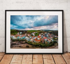 Seaside landscape Photography. Staithes village sunset  North York Moors, England. Landscape Photo. Mounted print. Wall Art.