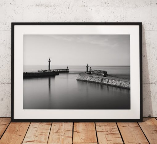 Seaside landscape photography Whitby Pier. North York Moors, England. Landscape Photo. Black and White long exposure. Wall Art.