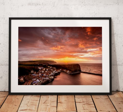 Seaside Sunset Photography. Staithes village  North York Moors, England. Landscape Photo. Mounted print. Wall Art.