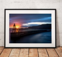Sunrise landscape photography Whitby Pier. Seaside, North York Moors, England. Landscape Photo. Long exposure. Wall Art.