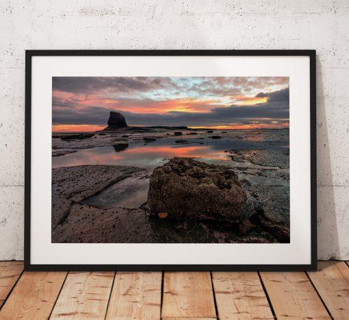 Sunrise landscape photography Whitby. Seaside, Saltwick Bay, RocksNorth York Moors, England. Landscape Photo. Long exposure. Wall Art.