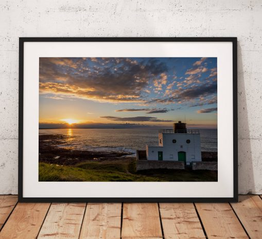 Sunset Landscape Photography, Bamburgh lighthouse, Coast, Sea, Sun, Northumberland, England. Landscape Photo. Mounted print. Wall Art.