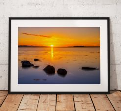 Sunset landscape photography, Beadnell bay, Northumberland, England. Coast, Mounted print. Seascape. Wall Art.