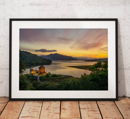Northern Wild Landscape Photography - Sunset photograph of Eilean Donan Castle, Kyle of Lochalsh in the Scottish Highlands, Scotland. UK