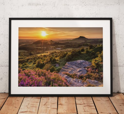 Sunset Photography Roseberry Topping. North York Moors, England. Landscape Photography. Mounted print. Wall Art.