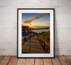 Sunset photography Whitby, 199 Steps, Lamp, Sunset, coast, glow, North York Moors, England. Landscape Photo. long exposure. Wall Art.