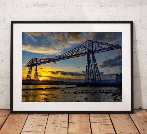 The Majestic Dinosaur. The Middlesbrough Transporter Bridge at Sunset. Teesside,  North East England