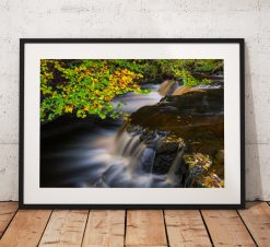 Waterfall landscape photography, Autumn, Trees, Teesdale, Durham, Nature, England, Landscape Photo. Mounted print. Wall Art, Home Decor