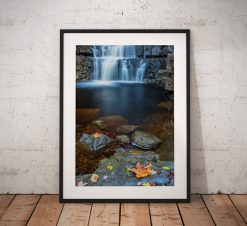 Waterfall landscape photography, Bowlees, Durham,Autumn,England. Landscape Photo. Mounted print. Wall Art.