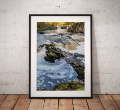 Waterfall landscape photography, Low force, Swirl, Tees, Durham,Autumn,England, Landscape Photo. Mounted print. Wall Art, Home Decor