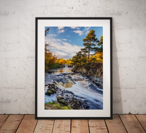 Waterfall landscape photography, Low force, Tees, Durham,Autumn,England, Landscape Photo. Mounted print. Wall Art.
