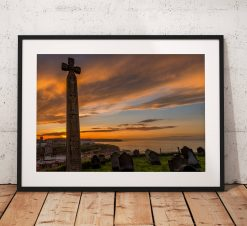 Whitby landscape photography, Sunset, coast, glow, Cross, Religion, Goth, North York Moors, England. Landscape Photo. Home Decor. Wall Art.