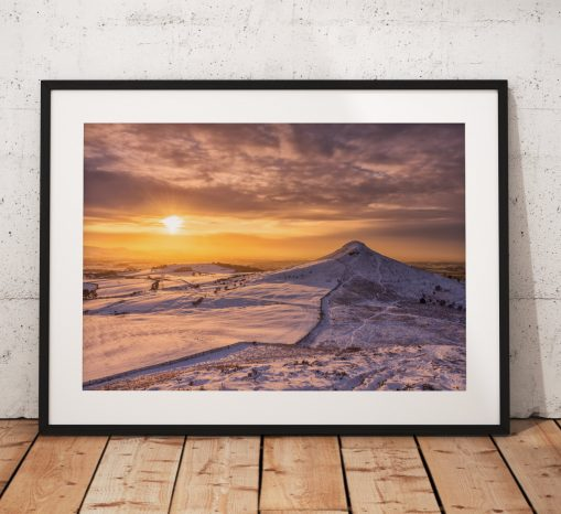 Winter sunset landscape photography.  Roseberry Topping, photography print, Snow, North York Moors, England. landscape Photo. Wall Art.
