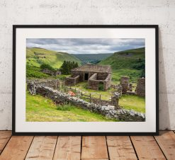 Yorkshire Dales Photography, Crackpot Hall, stone wall, Ruin, England.  Photo. Mounted print. Wall Art. Home Decor