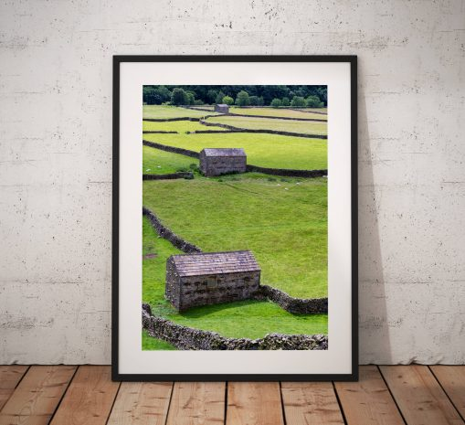 Yorkshire Dales Photography, Three Barns, stone wall, Fields, England.  Photo. Mounted print. Wall Art. Home Decor